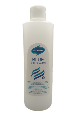Adon Blue Cold Wave. Hair perming lotion step 1 for normal hair texture. Gentle perm suitable for most styles. Made in Singapore.
