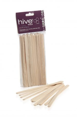 Hive Disposable Mini Spatula. Thin, flat, round ended birchwood spatulas are thinner in width making them ideal for eyebrow and facial waxing.