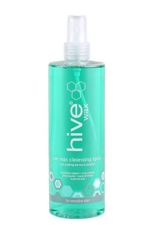 Hive Pre-Wax Cleansing Spray. Effectively removes deodorant, make up and body oils prior to waxing. Contains Tea Tree and Lemon essential oils.