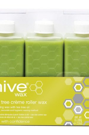 Hive Tea Tree Crème Roller Wax - antiseptic and soothing qualities. Quick, accurate and hygienic method. For normal or problem skin and fine/normal hair.