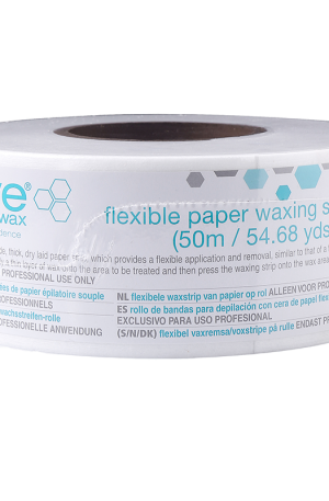 Hive Flexible Paper Waxing Strip Roll. Provides a flexible application and removal. Ideal for all waxing treatments. 50m x 7.5cm.