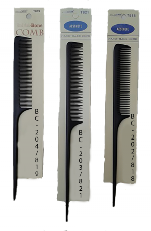 Hand Made Tail Combs. One side to comb hair, the other side to part hair. Thin and long, to straighten hair. Create sections of hair for curling or rolling.