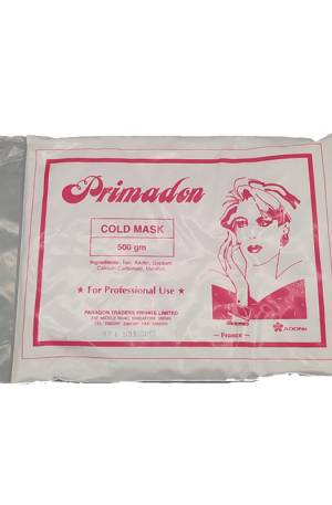 Primadon Cold Mask. It reduce swelling, inflammation, wrinkles. Ingredients: Talc, Kaolin, Gypsum, Calcium Carbonate, menthol. 550gm. For Professional Use.
