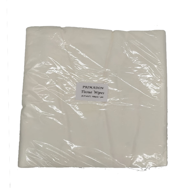 "Primadon Tissue Wipes. (9.5""x9/5""). 100pcs / pkt."