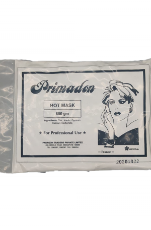 Primadon Hot Mask. It opens your pores and increase blood circulation. Ingredients: Talc, Kaolin, Gypsum, Calcium Carbonate. 550gm. For Professional Use.