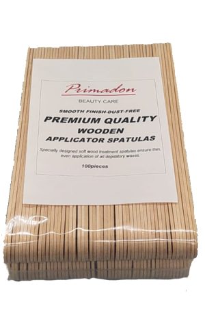 Primadon Big Spatula. Smooth Finish-Dust Free. Specially designed soft wood treatment spatulas ensures thin, even application for all depilatory waxes.