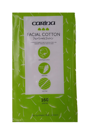 Carina Facial Cotton. A natural & hygienic way to remove make-ups, cleanser, manicure, lotion & cream. 160 Pieces. 100% Pure Cotton. Ultra Soft. Lint Free. No Synthetic Fiber Content.