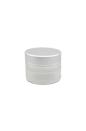Glass Cosmetic Jar. To put cosmetic cream. For Beauty Salons. 2 Variations: Glass Cosmetic Jar with Silver Cap (5g), Glass Cosmetic Jar with White Cap (15g).