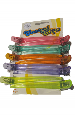 Crystal Cutting Clips. Strong Metal Spring. Stainless Steel Support. Glides Easily through hair. 2 of each colour in 1 packet (10 clips).